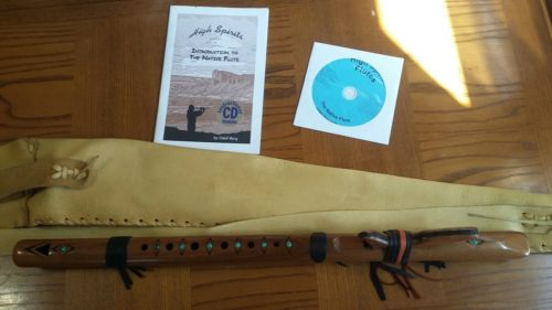 High Spirits Native Flute w/Turquoise G Intstuctional CD , Book & carry bag