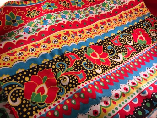 1 1/3 YARDS OF VINTAGE RED, BLUE, WHITE & GREEN FLORAL & GEOMETRIC PRINT TWILL