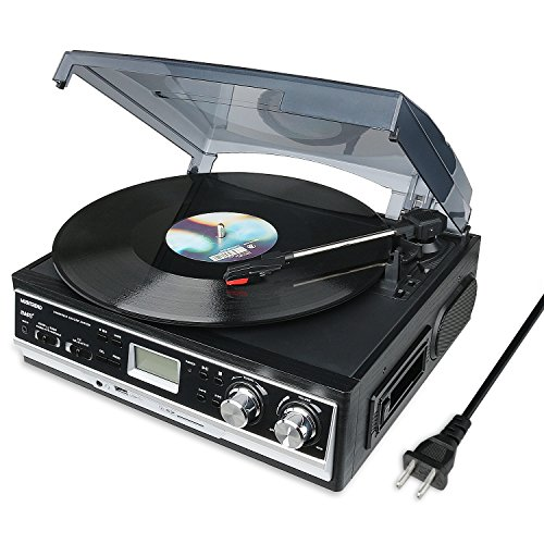 Musitrend Record Player Belt-Drive 3 Speed Stereo Turntable with Built in