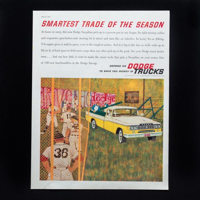 1960 DODGE TRUCKS Smartest Trade Baseball vintage print ad large magazine