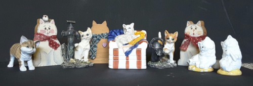 Home Decor cat kitten lot of 9 knick knacks decoration figurine glass wood