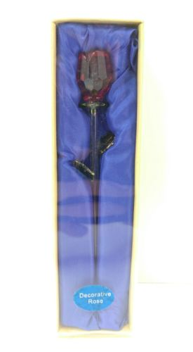 Red Rose Glass Collectible Glass Decorative Rose with gift box, pre-owned, ~7