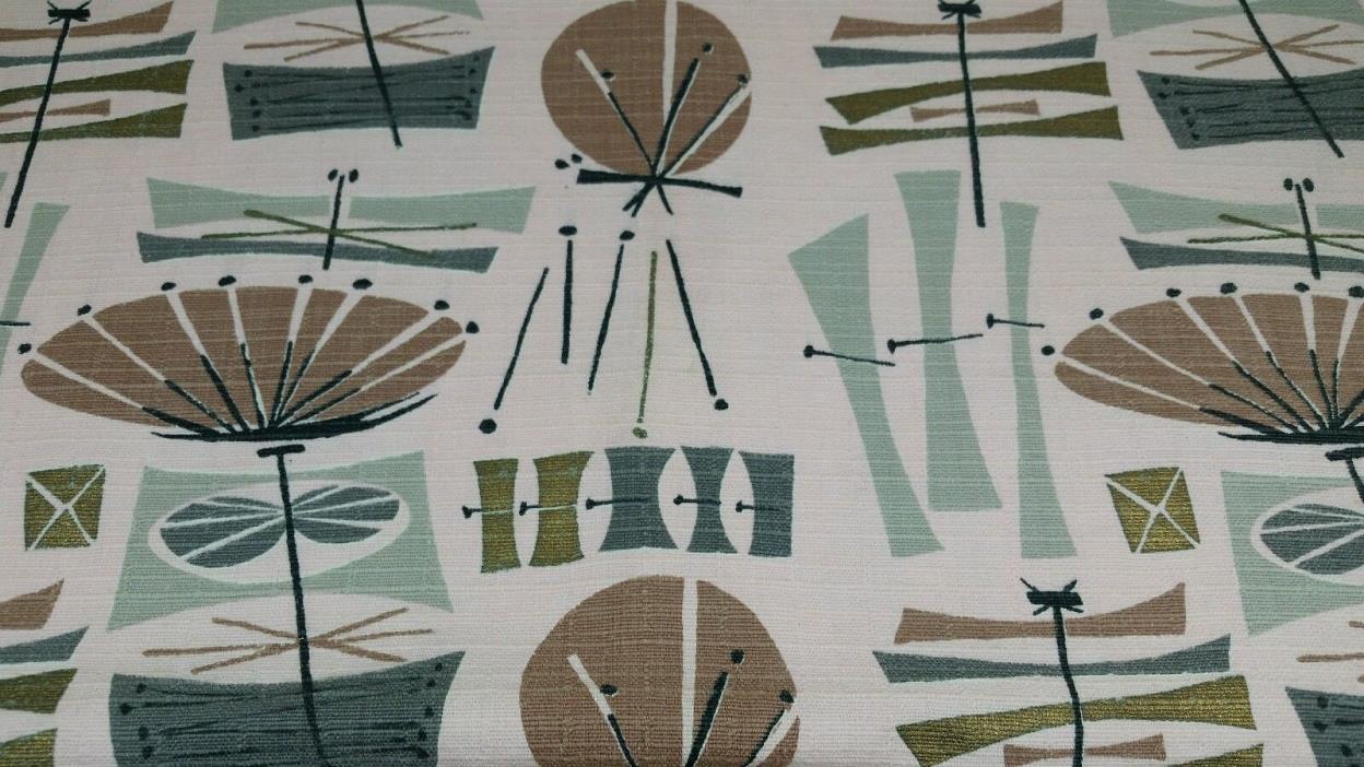 Vintage Mid-Century Modern Barkcloth Pink Atomic Era Retro Upholstery Fabric MCM