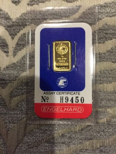 1 gram Gold Bar - Engelhard (In Assay)