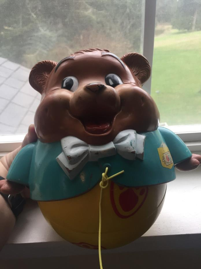 1969 Fisher Price Chubby Cub CHIME BEAR PULL TOY #164 ROLY POLY w/ Pull String