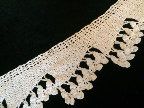 Antique Irish Crochet Lace Fragment Primitive Costume Design Dolls Cotton