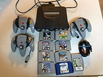 Nintendo 64 Charcoal Grey Console - Comes with 9 games 3 controllers