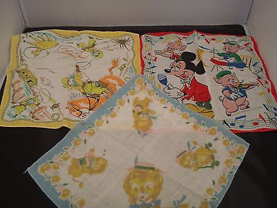 3 VINTAGE CHILDREN'S HANKIES DISNEY MICKEY & 3 LITTLE PIGS/COWBOY/LION PLAYING