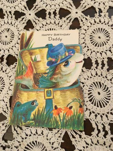 Vintage Greeting Card Birthday Cute Fish Basket Anthropomorphic