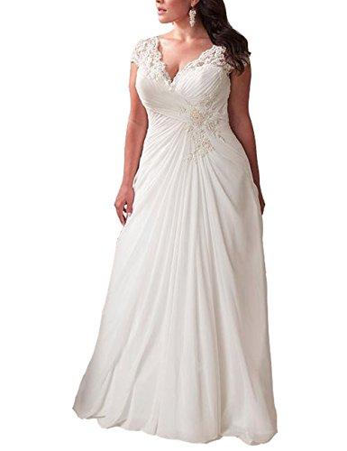 Mulanbridal Elegant Applique Lace Wedding Dress Chiffon V Neck Plus Size Beach