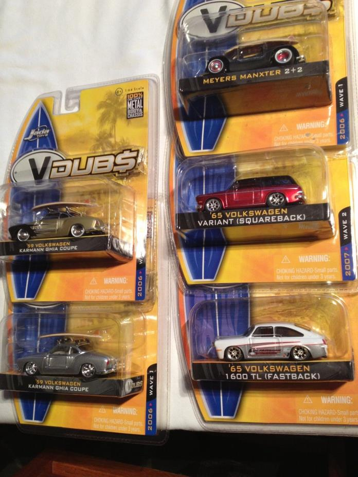 VW Volkswagen SET Jada Toys VDubs Ghia Couple Fastback Squareback Meyers Manx