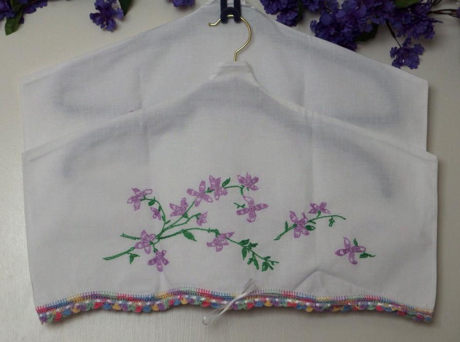 Pair of VTG Pillowcases w/Hand Embroid. & crochet trim turned cloth dusters, NEW