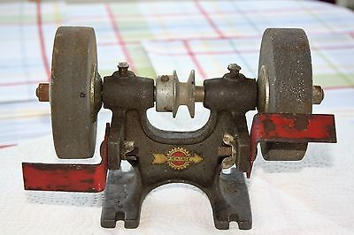 Older Prairie Tool Company Grinder Belt Driven Two Wheels Heavy Metal