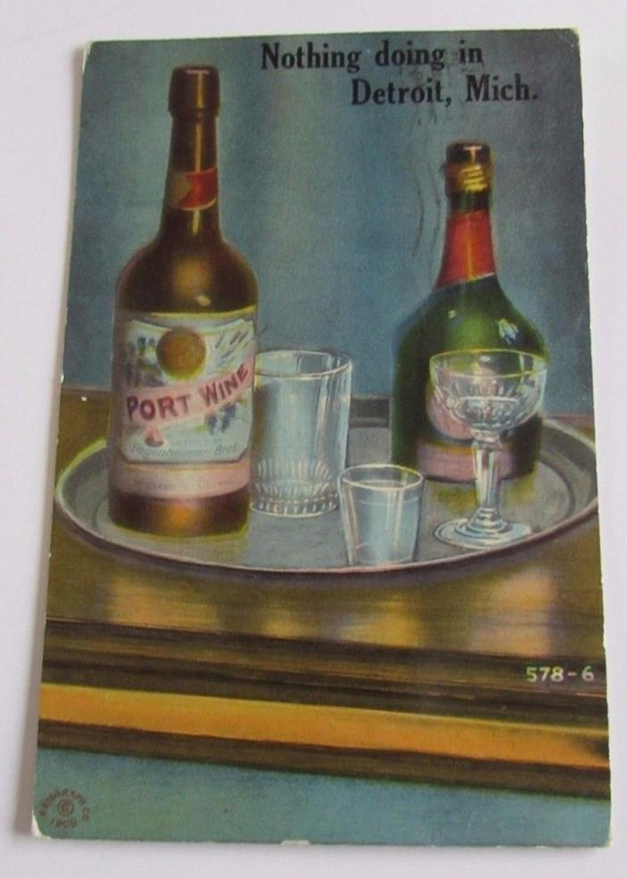 Antique Pre-Prohibition Detroit Michigan Postcard Liquor Wine Bottle