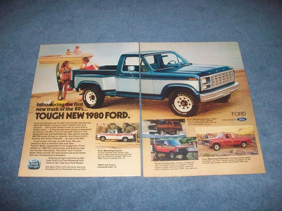 1980 Ford Trucks Vintage 2pg Color Ad
