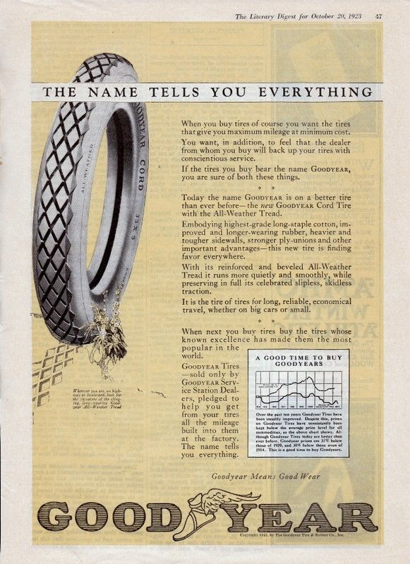 1923 9x12 Goodyear Tire & Co. ad