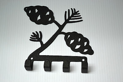 Village Wrought Iron Leaf Pine Tree Key Holder 7 In. W x 5 3/4 In. H  New