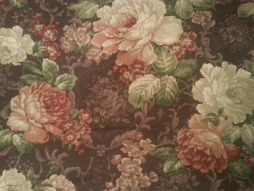 6 yrds Vtg 1995 Floral Richloom Drape Upholst fabric Canada Huge Shabby Flowers