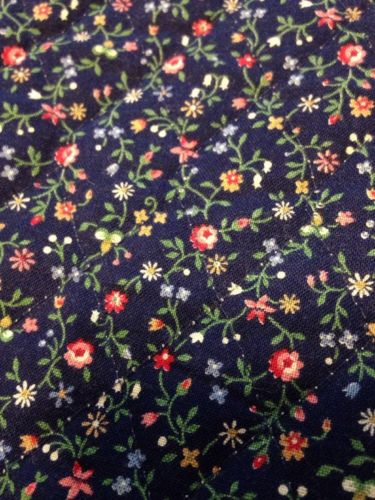 Vintage Pre Quilted Navy Floral Fabric Sides Are Hemmed 32X72