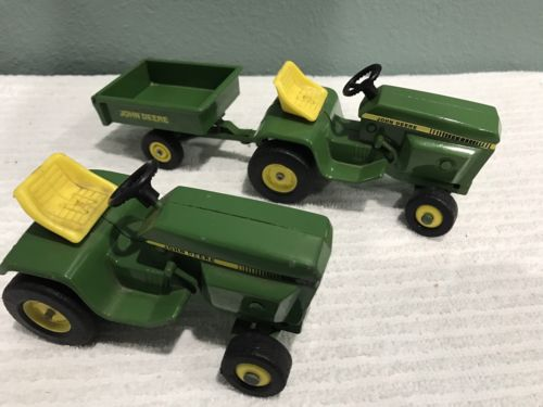 Set of 2 1/16 Ertl John Deere Lawn and Garden Tractors plus 1 Cart