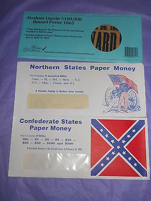 Reproduction Confederate States and Nothern States Paper Money & Lincoln Wanted
