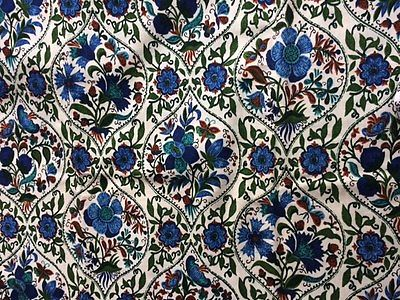 Vintage Fabric Blue Green Floral
