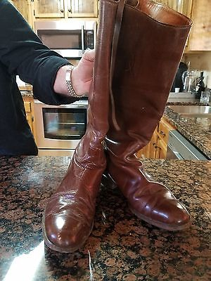 Vintage Mens Brown Leather English Riding Boots/Tall-- size 10 or 11 N--- 1940s
