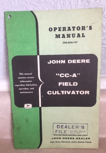 John Deere 66A 66H Tractor Plows Operators Manual