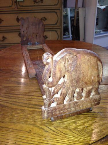 India Indian Carved Inlaid Wood Book Rack Elephants Adjustable Foldable