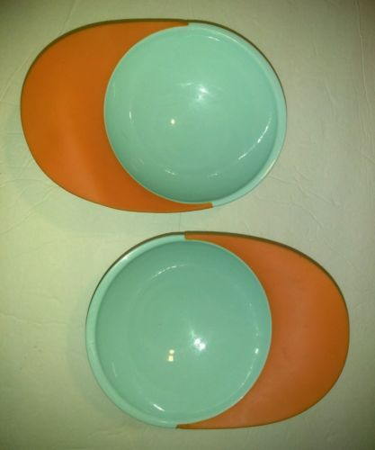 Lot of 2 Boon Baby Toddler Catch Bowls Spill Catcher Blue Orange Suction Cup