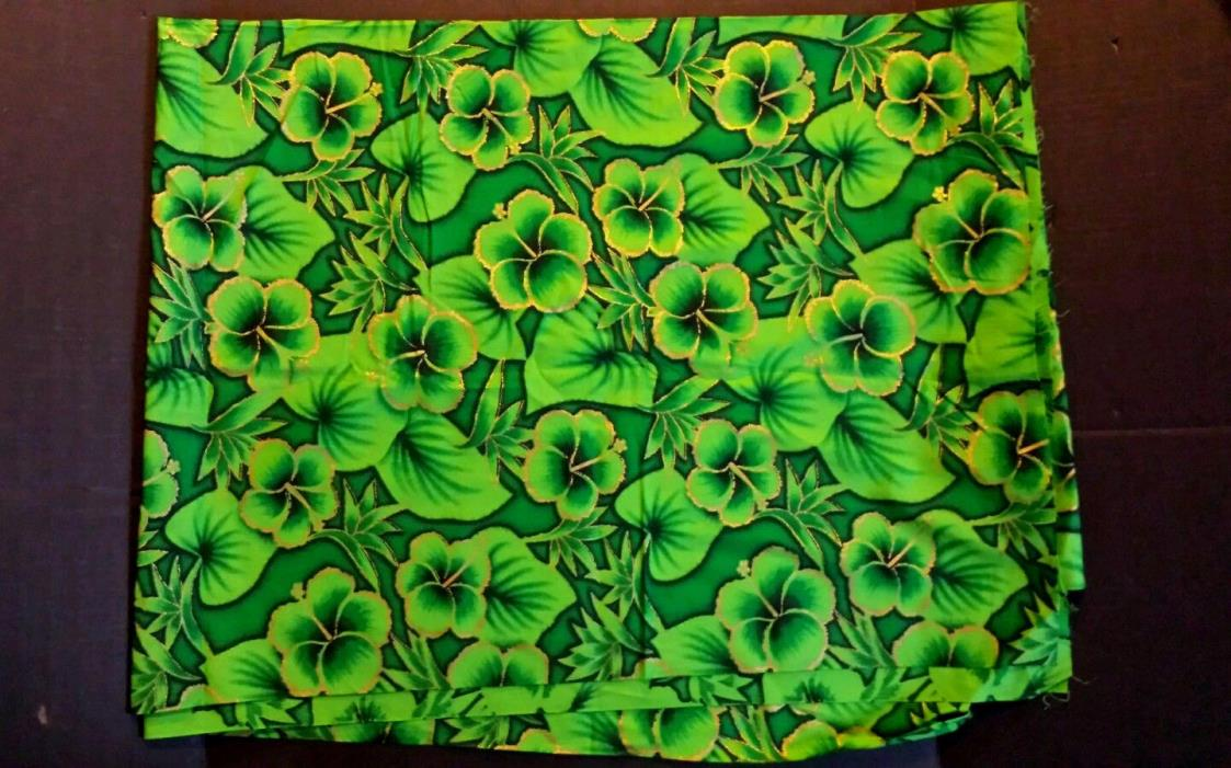 Hawaiian Floral Hibiscus Fabric Green w Shiny Gold Cotton Retro 60s-70s 3+ Yards