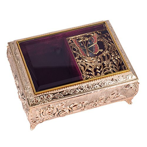 Gold Finish Metal and Glass Jewelry Music Box with Swarovski Crystals - Plays So