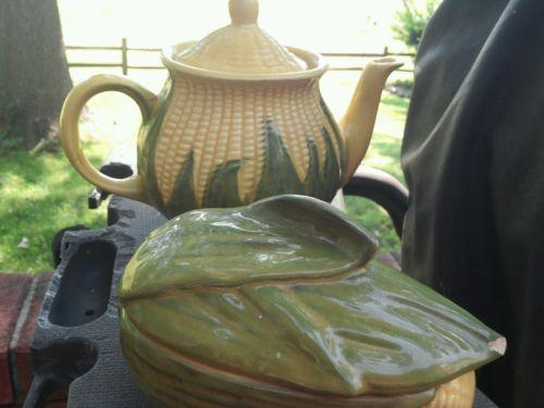 Shawnee teapot 75 and individual casserole dish 73