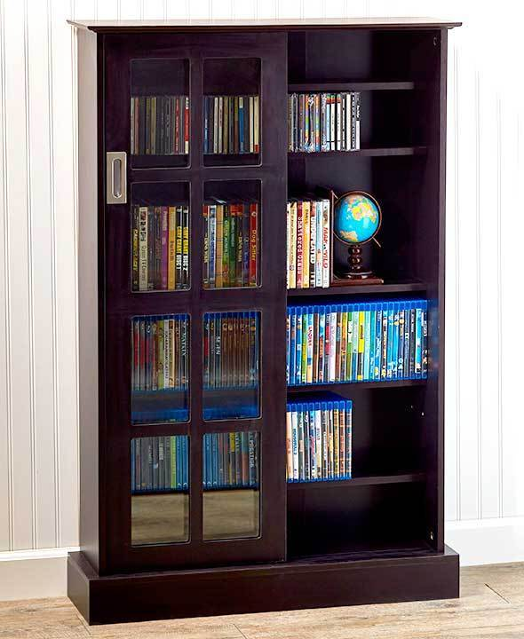 Atlantic windowpane sliding glass door media cabinet- expresso