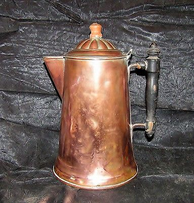 ANTIQUE VICTORIAN COPPER COFFEE POT MARKED ROME