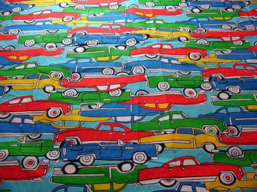 Vintage Automobiles Screen Print Material Fabric by Leon B. Rosenblatt 44 x 66