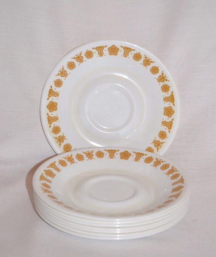 8 Vintage Corelle Livingware Butterfly Gold Small Saucer Plates Dishes