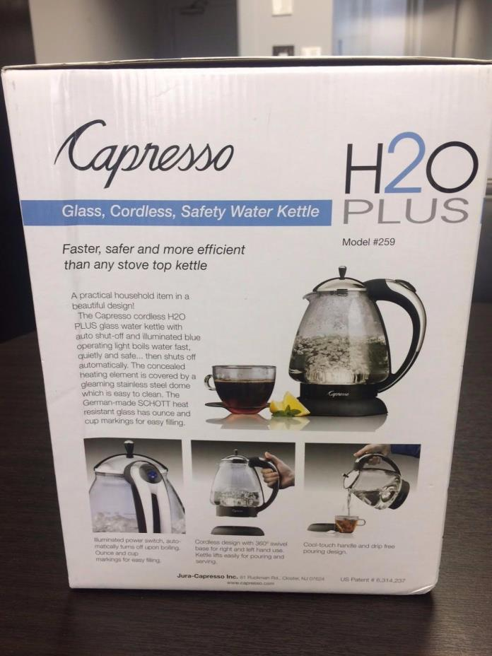 Capresso 259 H2O Plus 6-Cup Safety Glass Water Kettle (Polished Chrome)