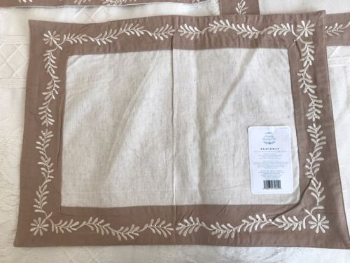 Set of 8~Simply Shabby Chic Embroidered and Beaded~Tan & Cream~Placemats - NWT