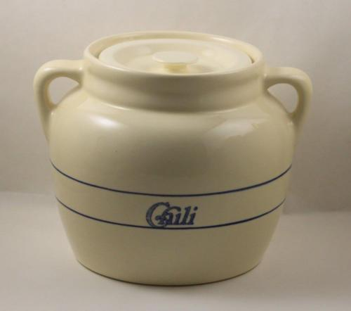 Crock Pottery Blue Stripe Lidded Chili Canister Pot