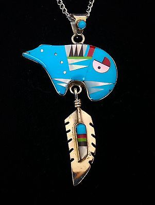 Zuni Sterling Silver &  Turquoise and Coral and  Jet  Bear Necklace