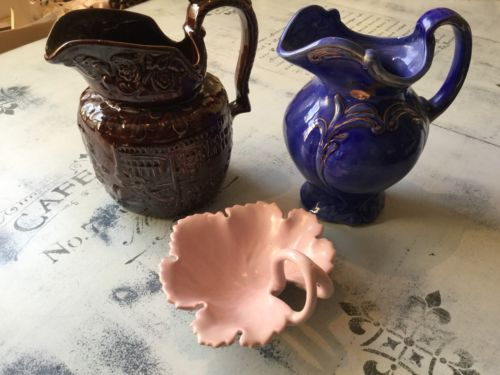 Vintage Ceramic Water Pitcher Lot With Pink Ceramic Leaf Tray - 3 Pieces