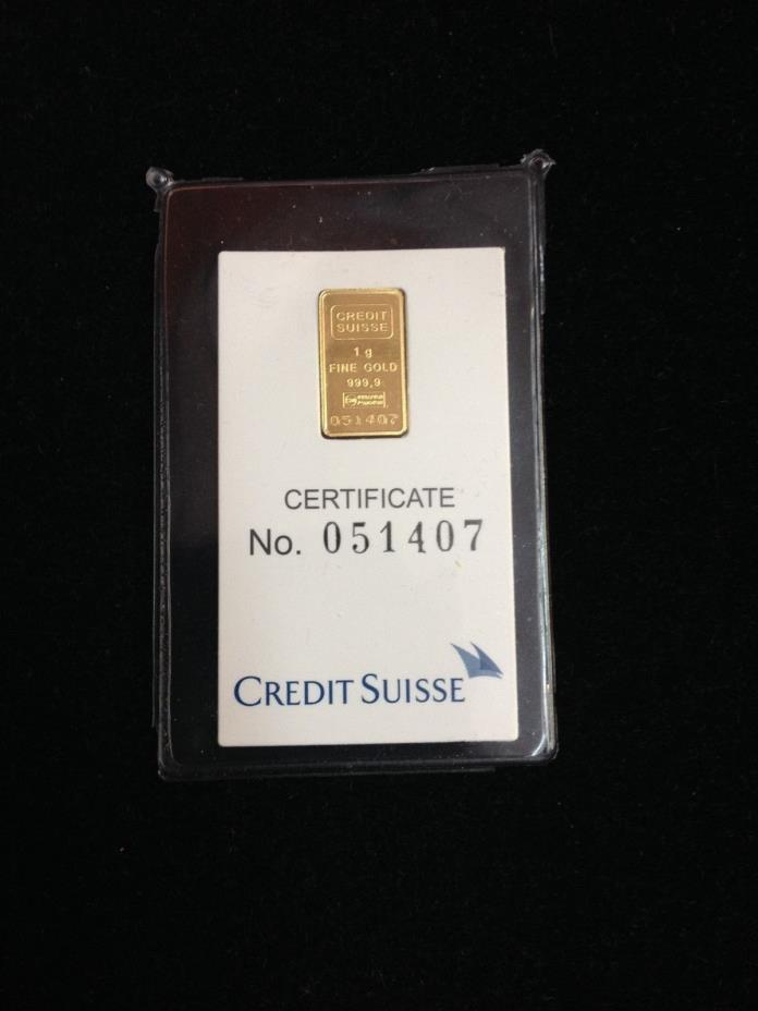 Credit Suisse 1 Gram .9999 Gold Bar - New Sealed With Assay Certificate
