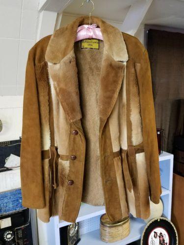 A Robert Lewis Idea shearing leather coat brown/tan men's size 42