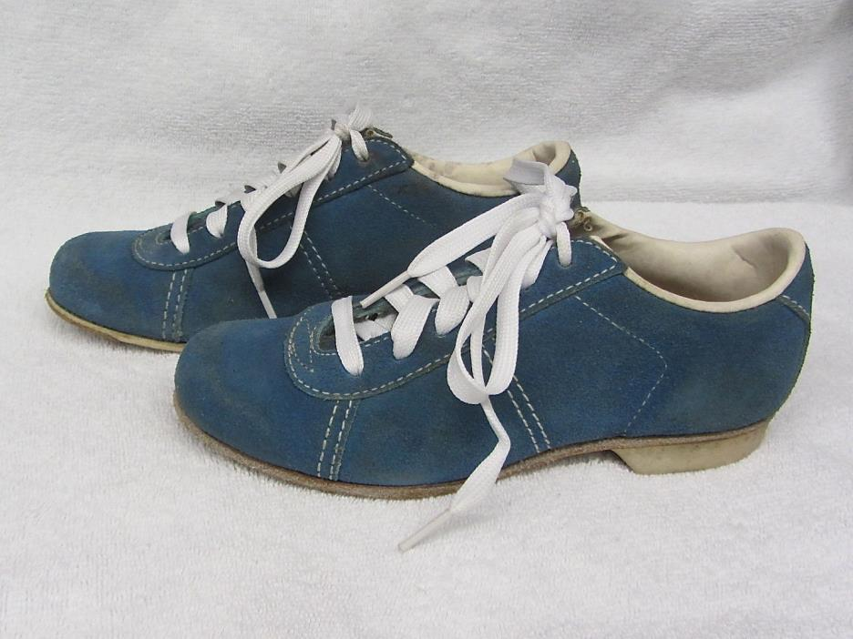 Vintage HYDE BLUE Suede Leather Womens Bowling Shoes Size 5 Made In USA! Small!!