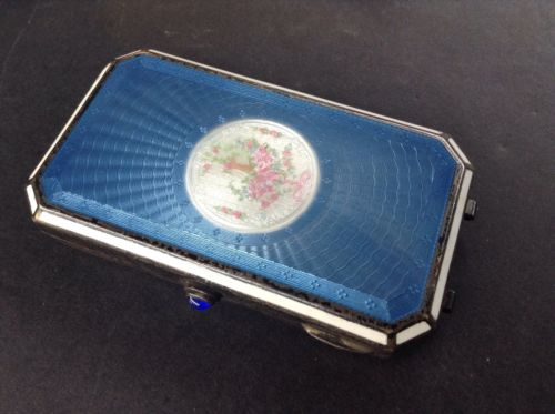 Foster And Bailey Vintage Sterling Silver Guilloche Enamel Card Case Compact