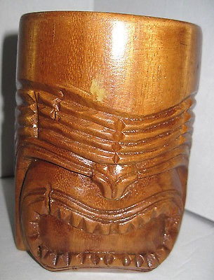 Vintage Wood Carved Tiki Mug w/Handle - 5