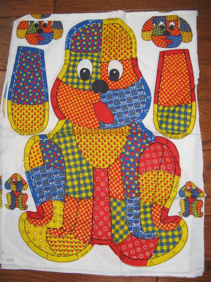 Vintage Cotton Fabric Pillow Panel Calico dog Pillow 14 x 20 Sewing Project