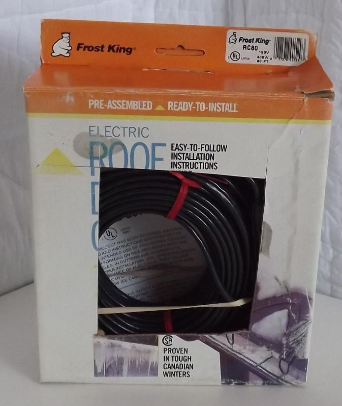 Frost King RC80 80 x 120 x 7' Automatic Electric Roof Cable Kits, Black NEW