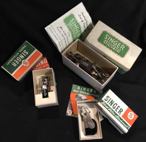 VINTAGE SINGER SEWING MACHINE ATTACHMENTS W/ MANUALS
